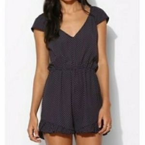 Pins& Needles Flutter Romper Navy Urban Outfitters